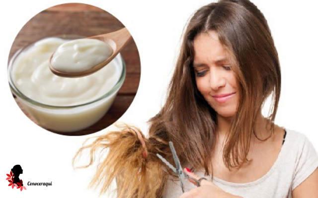 crema de yogur y aguacate para combatir el frizz del cabello rapido