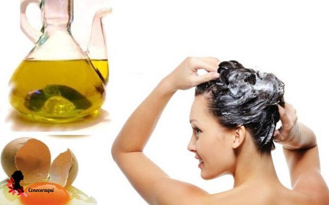 mascarilla de huevo y aceite de oliva para hacer crecer el cabello